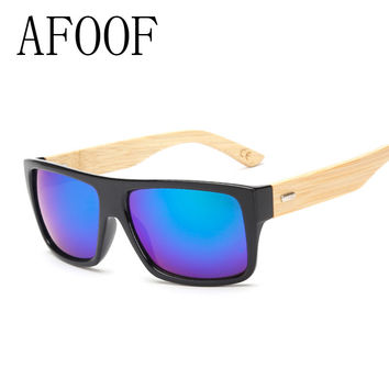 AFOOF 2016 New Fashion Bamboo Sunglasses Men Sun glasses Brand Designer Women Mirror Original Eyewear Oculos de sol Masculino