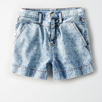 Yoke Front Denim Mom Shorts