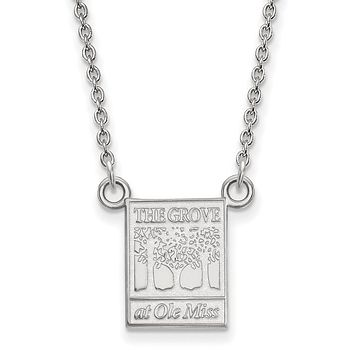 NCAA 14k White Gold U of Mississippi Small Pendant Necklace