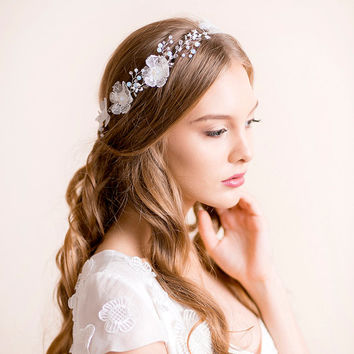 Wedding Headband with Opal Crystals - Bridal Headband - Opal Headpiece - Bridal Hair Vine Floral - Wedding Hair Vine - Silver with Opal