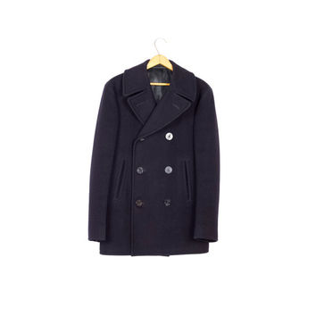 mint vintage 60s KERSEY NAVY PEACOAT / 1966 authentic / 1960 / pembroke wool / vietnam era usn / mens size 36 38 small - medium