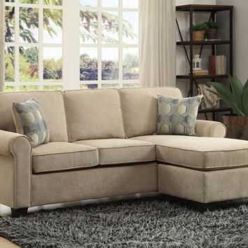 Home Elegance HE-9967-3SC 2 pc clumber sand textured fabric reversible chaise sectional sofa