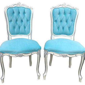 Tiffany-Blue Aqua Velvet Upholstered Vintage French Rococo Chairs ivory White Silver Gilded Hollywood Glam Chic