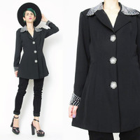 80s 90s Beaded Black Blazer Fitted Collared Blazer Lightweight Work Professional Jacket Floral Shaped Buttons Clueless Womens Blazer (S)