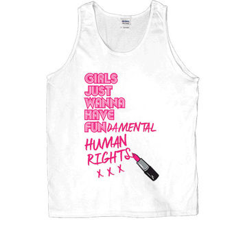 Girls Just Wanna Have Fun-damental Human Rights #2 Lipstick -- Unisex Tanktop