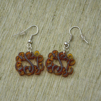 3 Initials Monogram Earrings  - 1 inch Vine Personalized Monogram Acrylic Custom Lasercut