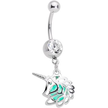 Clear Gem Glow Orb Unicorn Dangle Belly Ring