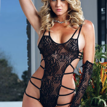 Strappy Cutout Floral Lace Teddy