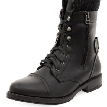 Black Knit Cuff Lace Up Biker Boots