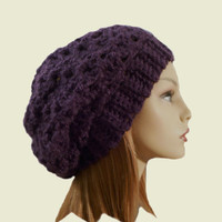 Slouchy Hat Beanie Purple Slouch Women Teen Eggplant Plum Dark Purple Beany Spring Crochet Hat