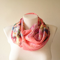 Colorful Floral Infinity Scarf, Pinkish Orange Circle Scarf, Chiffon Infinity Scarf, Women Loop Scarf, Fall Winter Spring Summer, For Her