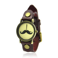 Vintage Leather Moustache Watch