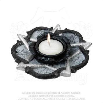 ac spbest Alchemy Gothic The Vault Pentagram and Rose T-Light Candle Holder