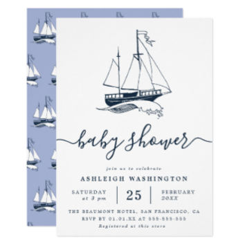Nautical Navy Blue Baby Boy Shower Invitations