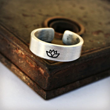 LOTUS Aluminum Ring, Handcrafted, Brushed Matte Finish, Adjustable, Lightweight, Hypoallergenic, Design Stamps, Can be Customized