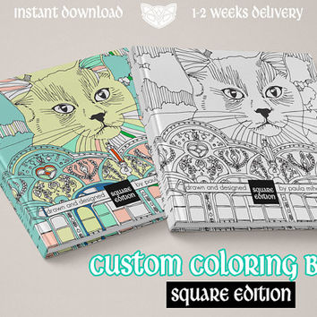 Custom Coloring Book 10x10cm / 4x4 in, Animal inspired, botanical, plants, cats, dogs, stars, universe, fantasy,surreal, Adult coloring book
