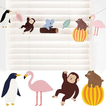 Rain Forest Animal Jungle Flag Bunting Garland Cartoon Zoo for Kids Room Party Wall Decoration