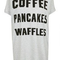 Coffee, Waffles, Pancakes Tee - Light Grey Marl