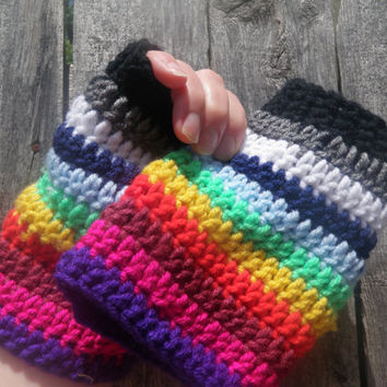 Rainbow fingerless gloves, crochet fingerless gloves, free shipping USA