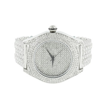 Mens Iced Out Watch Simulated Diamonds Techno Pave Hip Hop Bling