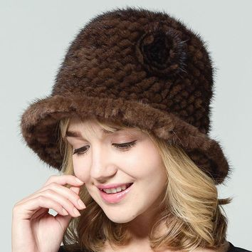 Women Real Mink Fur Hats With Flower Solid Russian Style Natural Knitted Brim Caps 2017 New Winter Female Thick Warm Headwear
