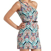 GEOMETRIC PRINT CUT-OUT ONE SHOULDER DRESS