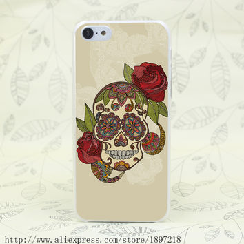 Sugar Skull Hard Transparent Cover Case for iphone 4 4s 5 5s 5C SE 6 6s Clear Cell Phone Cases