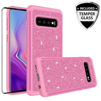 Samsung Galaxy S10 Case, Galaxy S10 Glitter Bling Heavy Duty Shock Proof Hybrid Case with [HD Screen Protector] Dual Layer Protective Phone Case Cover for Samsung Galaxy S10 W/Temper Glass - Hot Pink