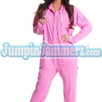 Pink Cotton Hooded Adult Pajamas - Cotton Adult Pajamas, hooded Pajamas, One Piece Hooded Pajamas