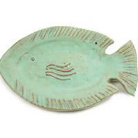 Whimsical Fish Plate or Wall Hanging - Coastal Art - Beach Decor - Spring Decor - Fish Art