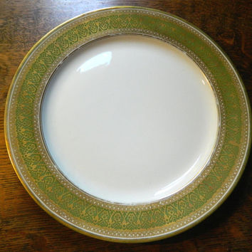 GDA Limoges Vintage China Plate - Green and Gold Design - Cottage Chic - Made by Gerand, Dufraisseuix, Abbot