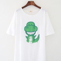 Happy Dinosaur White Tee