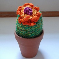 Soft Knit Desert Cactus with Orange & Purple Flower by OneSClark