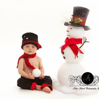 Crochet Newborn Baby Snowman Hat and scarf set, PHOTO PROP, Snowman Hat and Scarf Set, Christmas