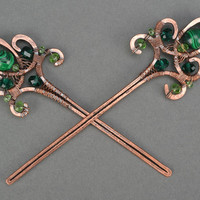 Handmade wire wrap copper hair pins with natural stones jewelry accessories gift