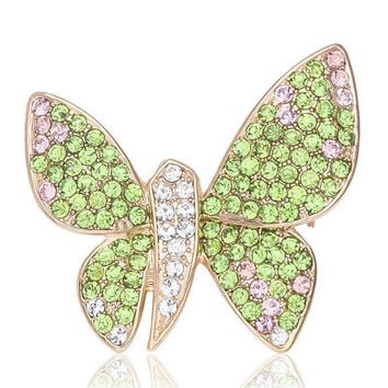 Alloy Rhinestone Butterfly Brooch
