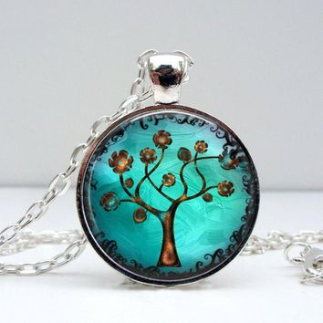 Copper Tree Necklace : Pendant. Charms. Art. Picture Pendant. Silver Jewelry. (1326)