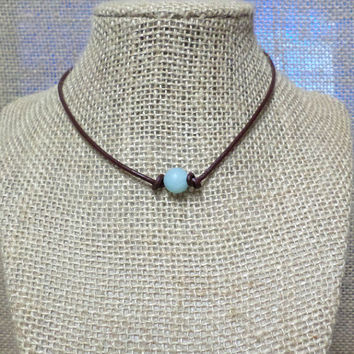 Aqua Blue Dyed Crystal Gemstone Semi-Precious Stone Genuine Leather Cord Choker Necklace Pearl Slip Knot Closure