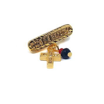 1-2301-e7 Dios Me Bendiga Pin. Gold Plated Pin with Cross and Azabache. 1