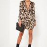 Missguided - Nude Leopard Wrap Front Shift Dress