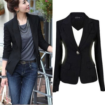 Fashion Women's One Button Slim Casual Business Blazer Suit Jacket Coat Outwear = 1932132612