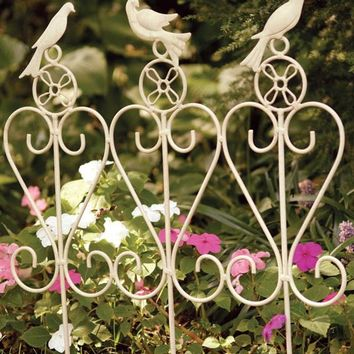 SONGBIRD GARDEN RAIL - Decorative Garden Edging, White Border Fence