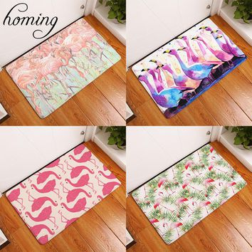 Homing Waterproof Doormats for Entrance Mats Dense Watercolor Paint Pink Flamingo Carpets Dustproof Kitchen Floor Mat Home Decor