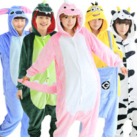 Adult Women Men Pajama Sets Winter Flannel Hoodie Animal Stitch Pikachu Minion Sulley Giraffe Cosplay Costume Anime Onesuit