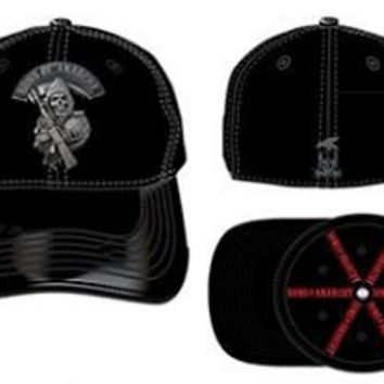 SOA Sons of Anarchy Stretch Black Fitted Baseball Cap Hat with Silver Metal - Sons of Anarchy - | TV Store Online