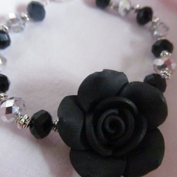 Gothic black rose flower bracelet