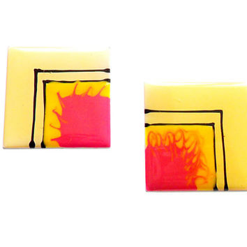 Vintage Neon Enamel Earrings - Pierced Post - Pink Yellow - Square Metal Earrings - 1980s 1990s Style - 80s Neon Colors - Geometric