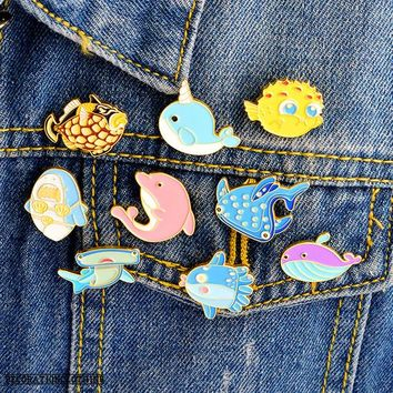 Fish Whale Octopus Dolphin Enamel Pin Cartoon Brooch Badges for Clothes Bags Backpacks Fashion Pins Cute Lapel Pins Gift
