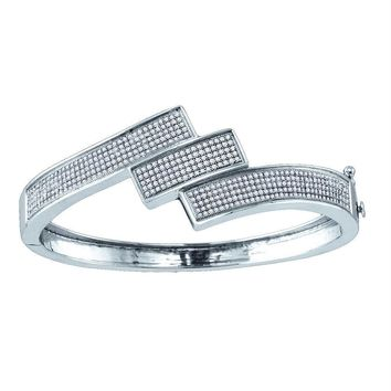 Sterling Silver Women's Round Diamond Triple Row Bangle Bracelet 1-1-3 Cttw - FREE Shipping (US/CAN)