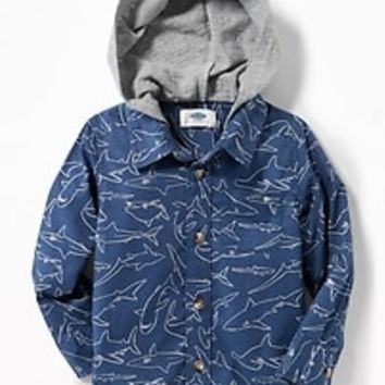 Jersey-Hooded Built-In Flex Shark-Print Shirt for Toddler Boys|old-navy